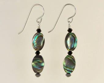 Abalone Paua Shell Drop Earrings Spring Summer Jewelry Gift for Her Boho Artisan Organic Beach Rainbow Black Crystal Sterling Silver Dangle