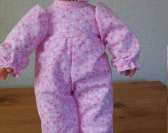 Pink and White Star Flannel Sleeper for 8 to 10 Inch Dolls and Bears