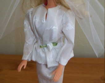 White Bridal Suit and Short Veil for Barbie