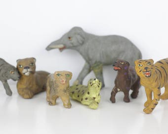 7 Antique Animal Figures Circus Toys