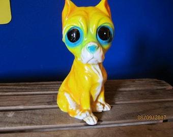 "Vintage Hand Painted Ceramic Figurine Big Eyed Sad Eye Puppy Dog Figurine Boxer Bright Yellow 7 3/4"" tall"