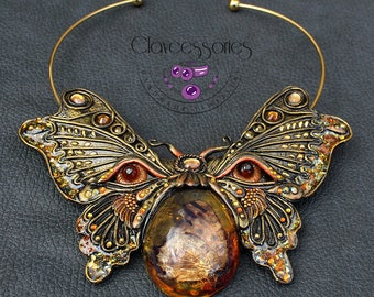 Butterfly necklace / Statement necklace / Bib necklace / Choker necklace / Amber necklace / Insect necklace / Polymer clay necklace