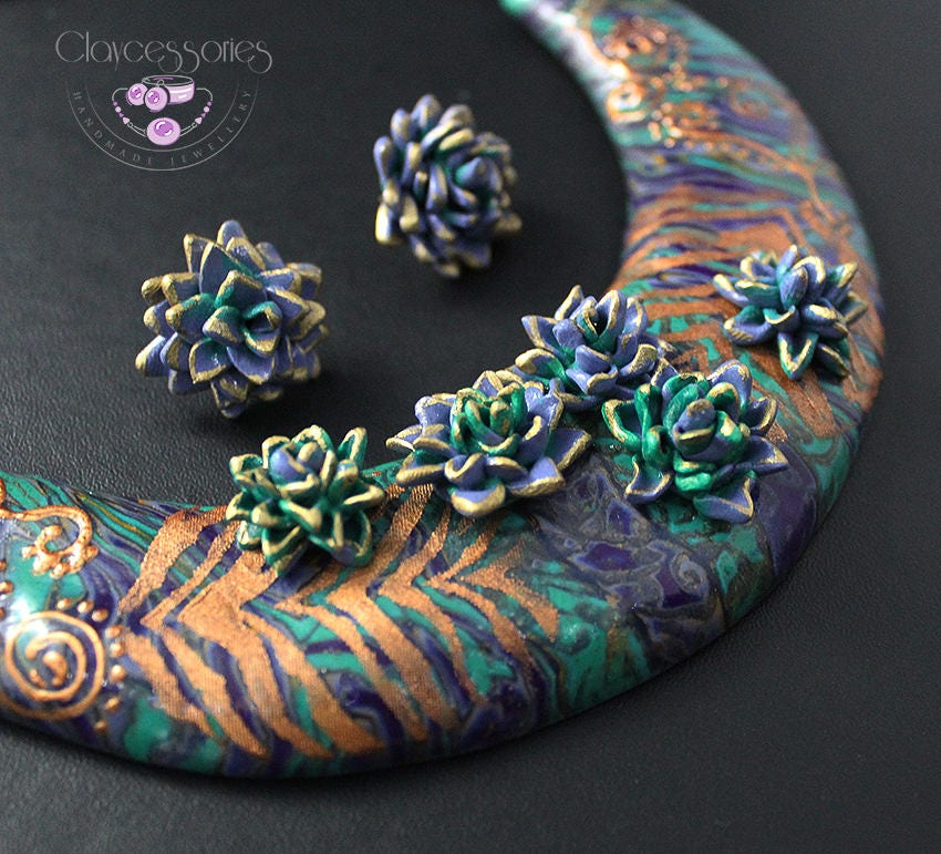 Succulent jewellery Succulent necklace Succulents earrings Statement necklace Bib necklace  Cactus necklace Polymer clay jewellery Choker
