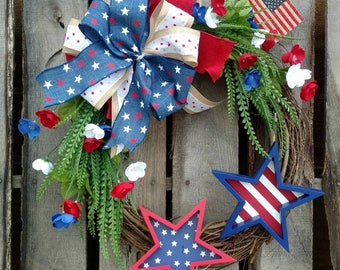 4th of July, Patriotic, Red White & Blue, Floral Grapevine Wreath with Wooden Stars