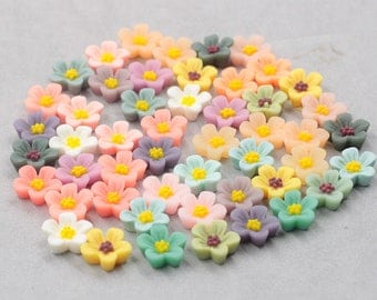 12mm Resin Flower Cabochons / Mixed Lot Resin Flowers Supplies Wholesale SZ-003-7