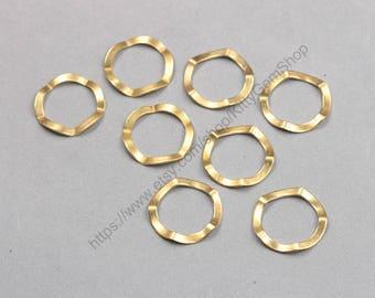 10Pcs, 25mm Raw Brass Rings Charms ZR-7631