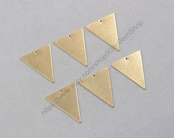 10Pcs, 30mm Raw Brass Triangle Slice Pendants Charms Wholesale Handmade Craft Supplies ZR-7827