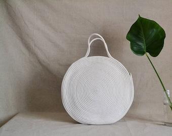Round beach bag, Round summer bag, Rope bag, Trendy boho bag, Handbag, Market bag,