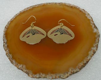 Vintage Laurel Burch gold tone, enamel, crane flying dangle earrings
