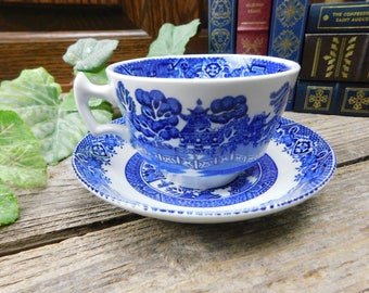 Set of 4 Antique Wood and Sons Blue Willow Flat Cups and Saucers