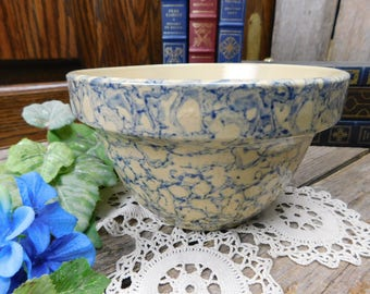 Vintage Robinson Ransbottom Blue Spongeware Mixing Bowl Roseville Ohio Pottery