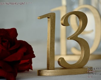 1-20 Wood Table numbers, Table Numbers for Wedding, Gold Centerpiece