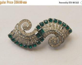 SALE Early Coro Duette Brooch Pin Fur Clips 1930 patents Emerald Green and Crystal Rhinestones Swirl
