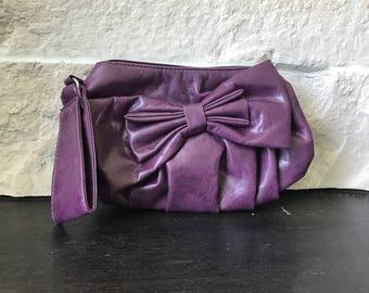 Vintage purple purse - vegan leather vintage purse - purple vintage handbag- 80s purse - faux leather vintage purse - pin up purse -