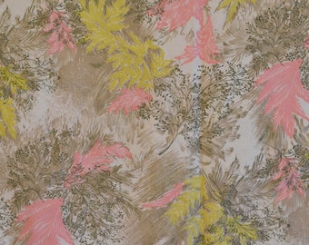 "50s Floral Fabric Yellow Pink Olive Brown 34"" x 136"""