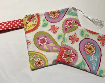 Ready To Ship......Cute Paisley Inspired Mah Jong Card Pouch with coin pouch made to fit Your Mah Jong Hands and Rules Players card