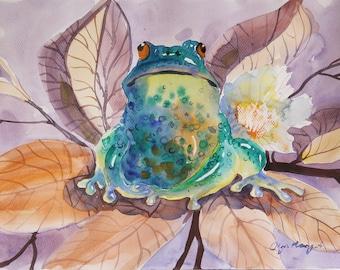 Original Watercolor painting art nursery art classical painting  Frog anuran 9 x 12  in  wall art decor animal Art artist painting art gift