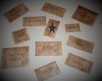 Primitive Aged Pantry Labels~Jars~Tins~Crafts~Accents~Wood~