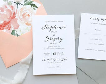 Peach Watercolor Floral Wedding Invitation Suite / Letterpress or Digital Printing / Classic, Garden Wedding / #1121