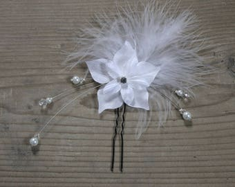 Wedding bridal fascinator feather flower satin Pearl White (or ivory upon request)