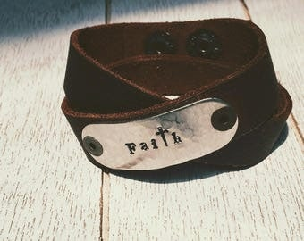 Rustic leather wrap bracelet hand stamped Faith with cross