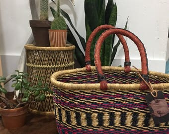 Oval Market Basket with Leather Handles