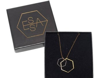 On Sale Hexagon necklace | Gold plated & Silver plated