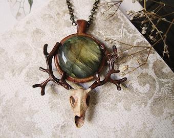 Stag Pendant, Polymer Clay Deer, Labradorite Stag, Antler Pendant, Deer Skull Pendant