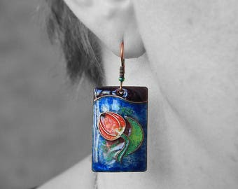 Red tulip earrings spring flower jewelry earrings green jewelry botanical jewelry unique enamel flower earrings