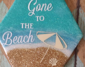 Gone to the beach tile beverage coaster
