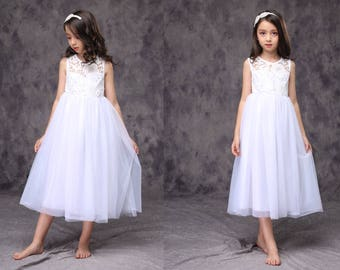 White Flower Girl Wedding Lace Dress See Through Open back  Children First Communion Tutu D2