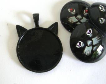 Black Cat Cabochon Base,25mm
