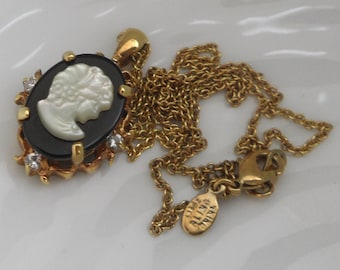 Mother of Pearl Cameo Pendant Neoclassical Lady Profile Cameo 14k Gold Plated Chain Necklace Black and White Cameo Necklace Signed Necklace