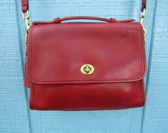 "Coach ~ Court ~ Red ~ Bag ~ Cross Body ~ Vintage ~ Recycled ~ Awesome ~ Great Condition ~ Medium Size ~ 9"" X 8"" X 3"""
