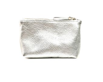 Leather Makeup Bag // Small Metallic Leather Pouch // Small Leather Clutch In Rose Gold //  Small Leather Bag // Silver Leather Cosmetic Bag
