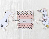 Dachshund Cute But Psycho Pink and White Paper Garland