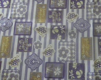 """fabric """"floral patchwork"""" on striped background"""