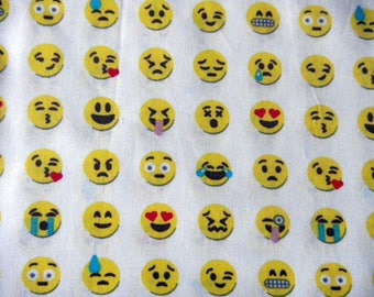 """fabric """"smiley"""" on white background"""