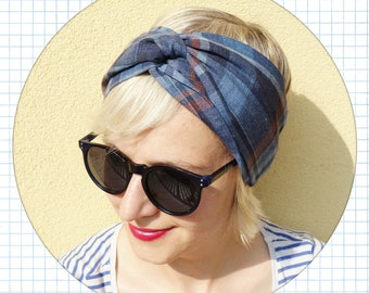 linen headband , women linen turban, intersect headband, linen hair band, summer headband, blue plaid headband