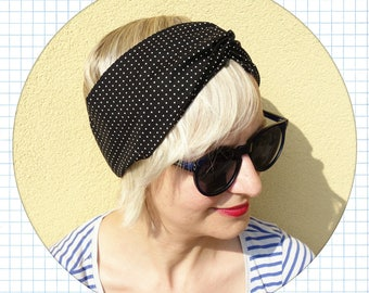 cotton headband , women cotton turban, intersect headband, cotton hair band, summer headband, black with white polka dots headband