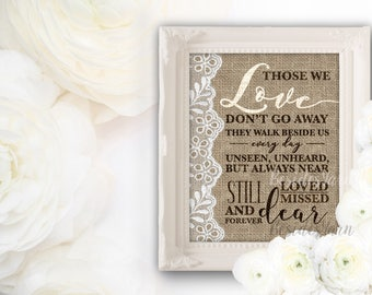 In Loving Memory, Those We Love Don't Go Away Sign, Memorial Sign, Memorial Table, Remembrance Sign, Memory Sign, Burlap and Lace Wedding