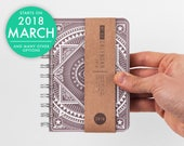 2018 2019 small planner with high quality paper Weekly pocket Diary Calendar Kalender Journal Agenda - Brown ornamental oriental pattern