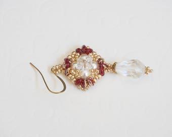 beadwoven earrings, Swarovski earrings, dangle earrings, handmade earrings, beadwork earrings, drop earrings, crystal earrings, swarovski