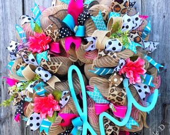 Hi Wreath, Summer Wreath, Everyday Wreath, Summer Decor, Front Door Wreath, Summer Deco Mesh, Welcome Wreath, Housewarming Gift, Hi Decor
