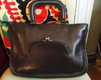 Vintage Coach top handle bag purse Bonnie Cashin seventies kiss lock front pocket made in NYC leather MAKE OFFER
