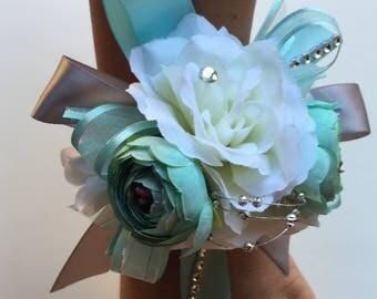 Wrist corsage/Aqua  and Gray wrist corsage/ silver and Aqua Wrist corsage/ Prom wrist Corsage