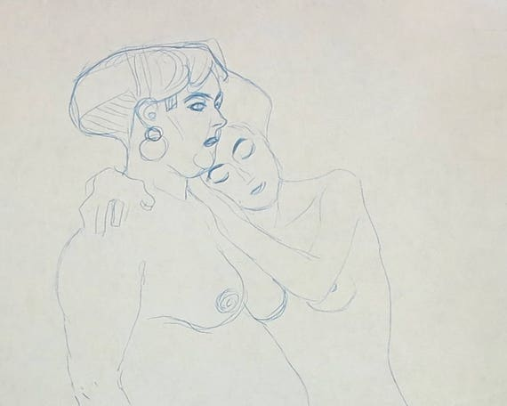 Large Gustav Klimt print of blue crayon drawing of two nude standing women embracing, 9 x 14 inches, 23 x 35.5 cm, published 1980