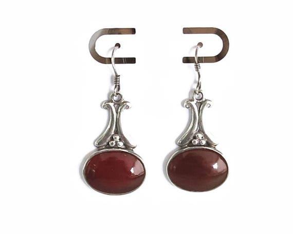 Sterling silver carnelian dangle earrings with large oval carnelian stones in bezel settings, little silver balls, stamped 925, 7 grams
