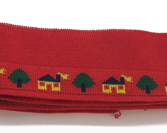 Woven Jacquard band, stretch Jacquard band, bright red with pattern of houses and trees, wide, vintage dead stock, 7 cm x 140 cm