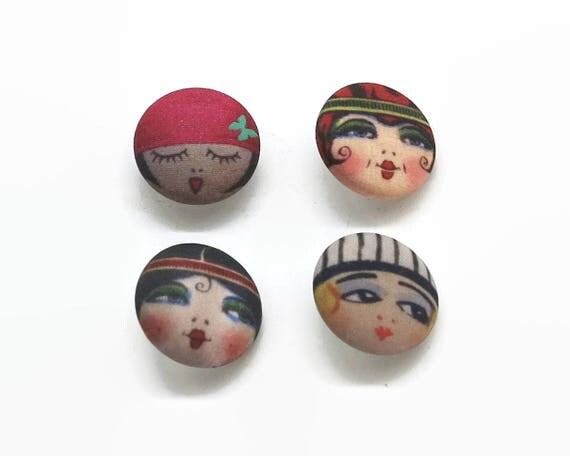 4 flapper buttons, 4 fabric buttons with faces of girls from 1920s, lots of color and details, 0.9 inch / 2.25 cm across